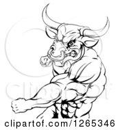 Black And White Muscular Bull Or Minotaur Man Mascot Punching