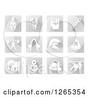 Clipart Of White Strength Icons On Gray Tiles Royalty Free Vector Illustration by AtStockIllustration