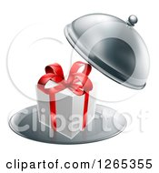 Clipart Of A 3d Gift Box With A Red Bow In A Cloche Platter Royalty Free Vector Illustration