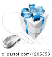 Clipart Of A 3d Gift Box With A Blue Bow Wired To A Computer Mouse Royalty Free Vector Illustration