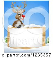 Clipart Of A Happy Red Nosed Rudolph Reindeer Over A Winter Sign Royalty Free Vector Illustration