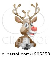 Clipart Of A Happy Red Nosed Rudolph Reindeer Royalty Free Vector Illustration