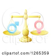 Clipart Of A 3d Gold Scale Balancing Gender Symbols Royalty Free Vector Illustration