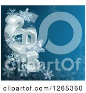 Clipart Of 3d Year 2015 With Snowflakes On Blue Royalty Free Vector Illustration by AtStockIllustration