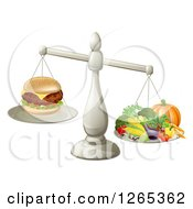 Clipart Of A 3d Silver Scale Comparing A Cheeseburger As Better Than Produce Royalty Free Vector Illustration by AtStockIllustration