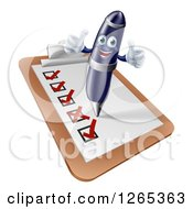 Clipart Of A 3d Happy Pen Holding Two Thumbs Up And Completing A Check List Royalty Free Vector Illustration by AtStockIllustration