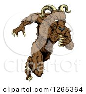 Clipart Of A Muscular Ram Monster Man Running Upright Royalty Free Vector Illustration by AtStockIllustration