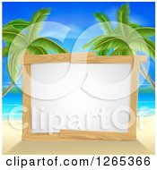 Clipart Of A Blank Wood Framed Sign On A Tropical Beach With Palm Trees Royalty Free Vector Illustration