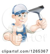 Clipart Of A Happy Brunette Caucasian Window Cleaner Man Holding A Squeegee And Thumb Up Royalty Free Vector Illustration by AtStockIllustration