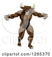 Clipart Of A Snarling Brown Bull Man Monster Mascot Attacking Royalty Free Vector Illustration