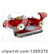 Clipart Of A Happy Red Convertible Car Character Mechanic Holding A Wrench And Thumb Up Royalty Free Vector Illustration