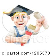 Clipart Of A Happy Blond Male Graduate Painter Holding A Brush And Diploma Royalty Free Vector Illustration