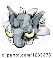 Clipart Of A Tough Elephant Breaking Through A Wall Royalty Free Vector Illustration