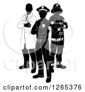 Black And White Faceless Doctor Policeman And Firefighter Posing
