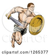 Clipart Of A Muscular Gladiator Running With A Sword And Shield Royalty Free Vector Illustration by AtStockIllustration