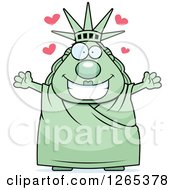 Clipart Of A Chubby Statue Of Liberty With Open Arms And Hearts Royalty Free Vector Illustration by Cory Thoman
