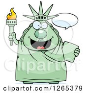 Clipart Of A Chubby Statue Of Liberty Talking Royalty Free Vector Illustration by Cory Thoman