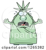 Clipart Of A Scared Screaming Chubby Statue Of Liberty Royalty Free Vector Illustration by Cory Thoman