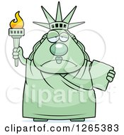 Clipart Of A Depressed Chubby Statue Of Liberty Royalty Free Vector Illustration by Cory Thoman