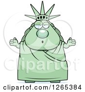 Clipart Of A Careless Shrugging Chubby Statue Of Liberty Royalty Free Vector Illustration