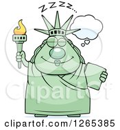 Clipart Of A Chubby Dozing Statue Of Liberty Royalty Free Vector Illustration