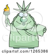 Clipart Of A Chubby Happy Statue Of Liberty Royalty Free Vector Illustration