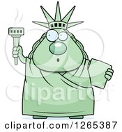 Clipart Of A Surprised Gasping Chubby Statue Of Liberty With An Extinguished Torch Royalty Free Vector Illustration