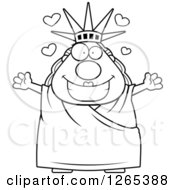 Clipart Of A Black And White Chubby Statue Of Liberty With Open Arms And Hearts Royalty Free Vector Illustration