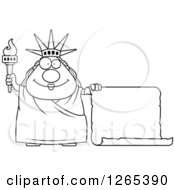Clipart Of A Black And White Chubby Statue Of Liberty With A Scroll Sign Royalty Free Vector Illustration by Cory Thoman