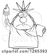 Clipart Of A Black And White Depressed Chubby Statue Of Liberty Royalty Free Vector Illustration by Cory Thoman