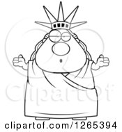 Clipart Of A Black And White Careless Shrugging Chubby Statue Of Liberty Royalty Free Vector Illustration