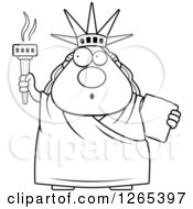 Clipart Of A Black And White Surprised Gasping Chubby Statue Of Liberty With An Extinguished Torch Royalty Free Vector Illustration