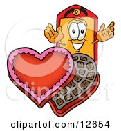 Price Tag Mascot Cartoon Character With An Open Box Of Valentines Day Chocolate Candies
