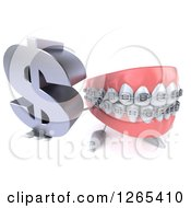 Clipart Of A 3d Metal Mouth Teeth Mascot With Braces Holding Up A Dollar Symbol Royalty Free Illustration