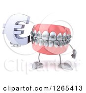Clipart Of A 3d Metal Mouth Teeth Mascot With Braces Holding A Euro Symbol Royalty Free Illustration