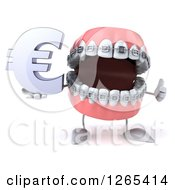 Clipart Of A 3d Metal Mouth Teeth Mascot With Braces Holding A Euro Symbol And Thumb Up Royalty Free Illustration