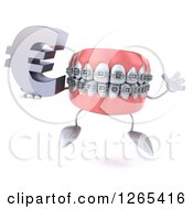Clipart Of A 3d Metal Mouth Teeth Mascot With Braces Holding A Euro Symbol And Jumping Royalty Free Illustration
