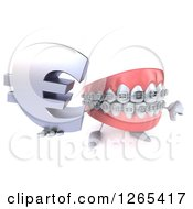 Clipart Of A 3d Metal Mouth Teeth Mascot With Braces Holding A Euro Symbol And Thumb Down Royalty Free Illustration