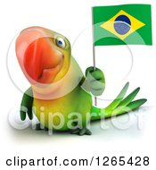 Clipart Of A 3d Green Parrot Holding A Brazilian Flag Royalty Free Illustration