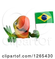 Clipart Of A 3d Green Parrot Holding A Brazilian Flag Over A Sign Royalty Free Illustration