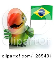Clipart Of A 3d Green Parrot Holding A Brazilian Flag Around A Sign Royalty Free Illustration