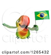 Clipart Of A 3d Green Parrot Flying With A Brazilian Flag Royalty Free Illustration