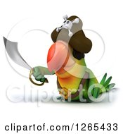 Clipart Of A 3d Green Parrot Pirate Holding Out A Sword Royalty Free Illustration