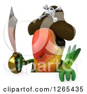 Clipart Of A 3d Green Parrot Pirate Holding A Sword Over A Sign Royalty Free Illustration