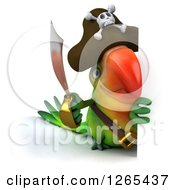 Clipart Of A 3d Green Parrot Pirate Holding A Sword Around A Sign Royalty Free Illustration