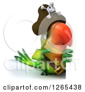 Clipart Of A 3d Green Parrot Pirate Pointing Around A Sign Royalty Free Illustration