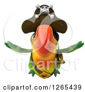 Clipart Of A 3d Green Parrot Pirate Flying Royalty Free Illustration