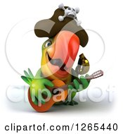 Clipart Of A 3d Green Parrot Pirate Playing A Guitar Royalty Free Illustration