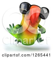 Clipart Of A 3d Green Parrot Wearing Sunglasses And Running Royalty Free Illustration