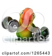 Clipart Of A 3d Green Parrot Working Out With Dumbbells Royalty Free Illustration